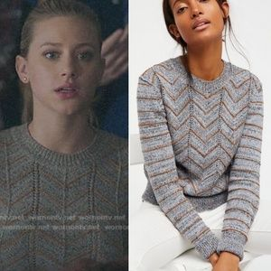 Free People Blue Zig Zag Pullover Sweater